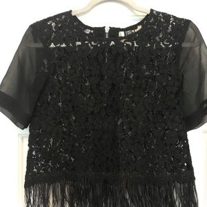 SOLD OUT! Topshop Lace Feather Hem Crop Top